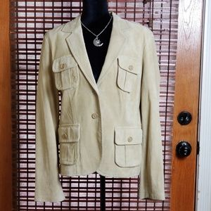 KAREN KANE LEATHER BLAZER JACKET WOMENS MEDIUM A2